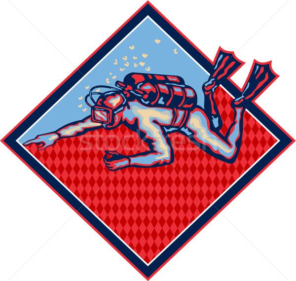 ダイビング レトロな 実例 スイミング ポインティング ストックフォト © patrimonio