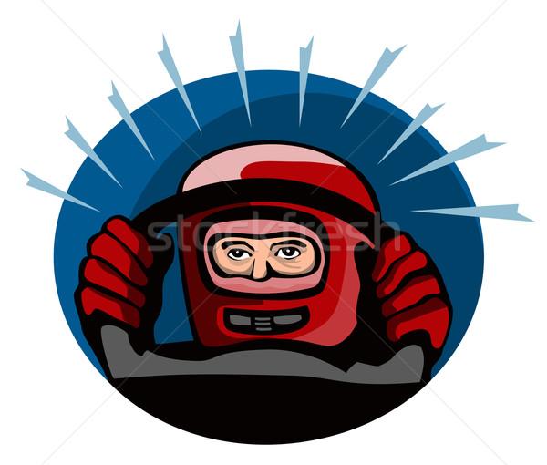 Versenyautó sofőr illusztráció szett kör izolált Stock fotó © patrimonio