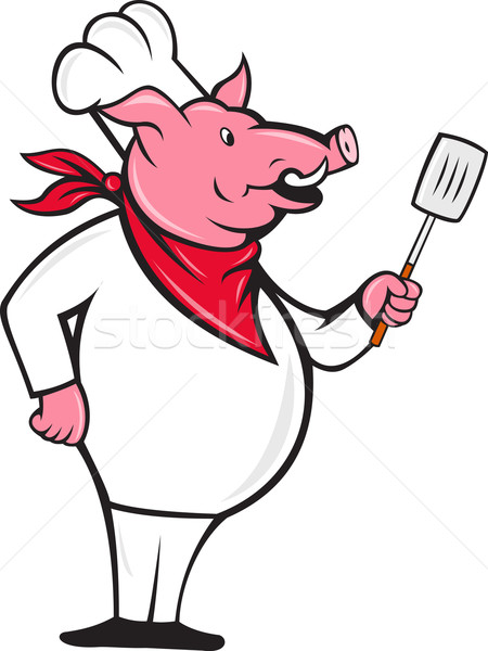 Wild Pig Hog Chef With Spatula Cartoon Stock photo © patrimonio