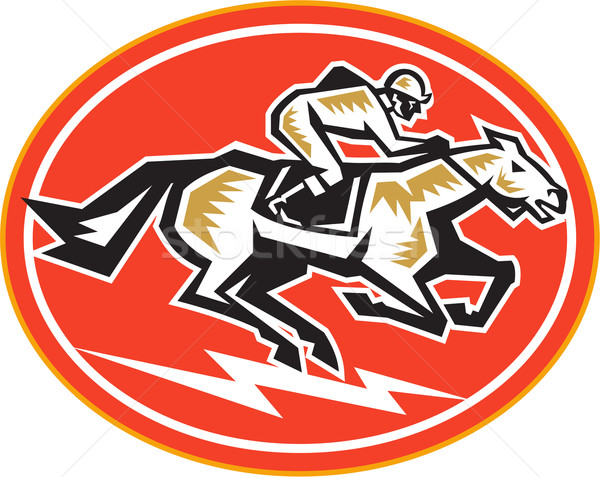 Corrida de cavalos lado retro ilustração cavalo jóquei Foto stock © patrimonio