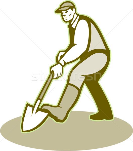 Gardener Landscaper Digging Shovel Retro Stock photo © patrimonio