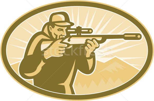 Jager geweer ovaal retro illustratie bergen Stockfoto © patrimonio