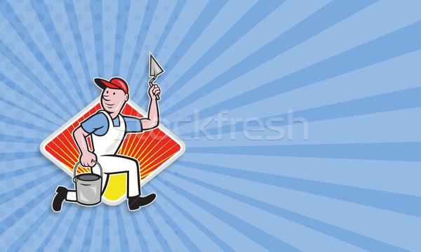 Gipsu kamieniarstwo pracownika cartoon ilustracja handlowiec Zdjęcia stock © patrimonio