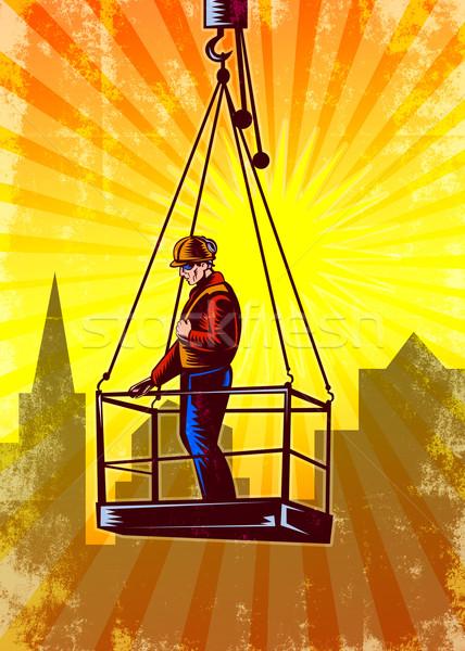 Construction Worker Platform Retro Poster Stock photo © patrimonio
