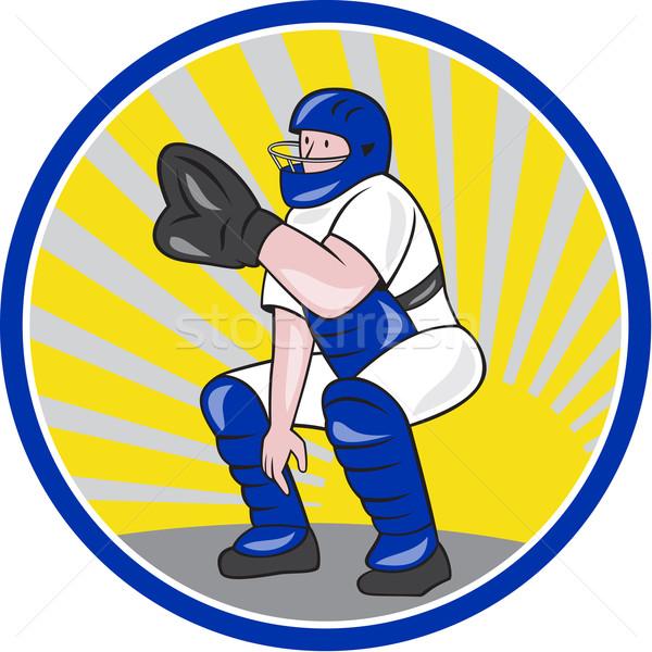 Baseball Catcher Catching Side Circle Stock photo © patrimonio