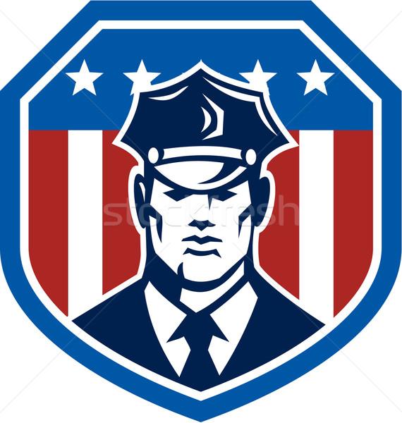 Americano guarda de segurança bandeira escudo retro ilustração Foto stock © patrimonio