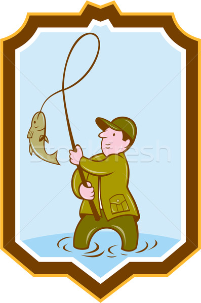 Fly Fisherman Fish On Reel Shield Cartoon Stock photo © patrimonio