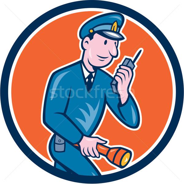 Policía antorcha radio círculo Cartoon ilustración Foto stock © patrimonio