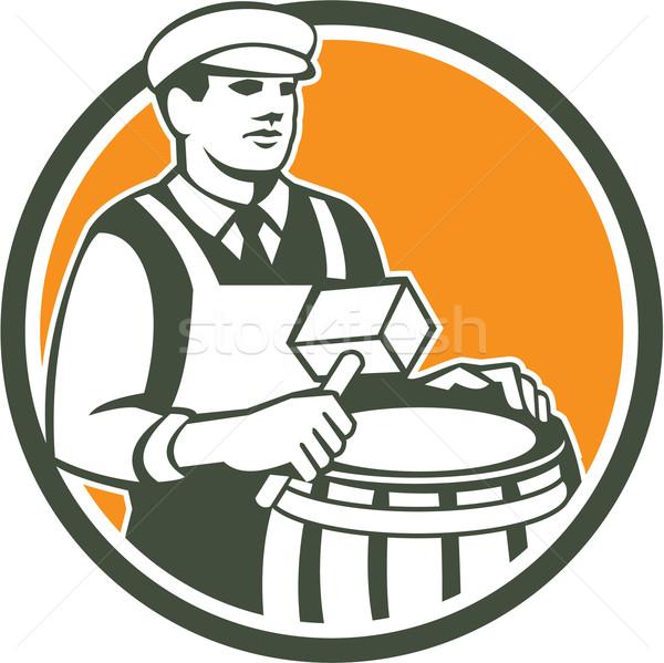 Cooper Barrel Maker Drum Retro Circle Stock photo © patrimonio
