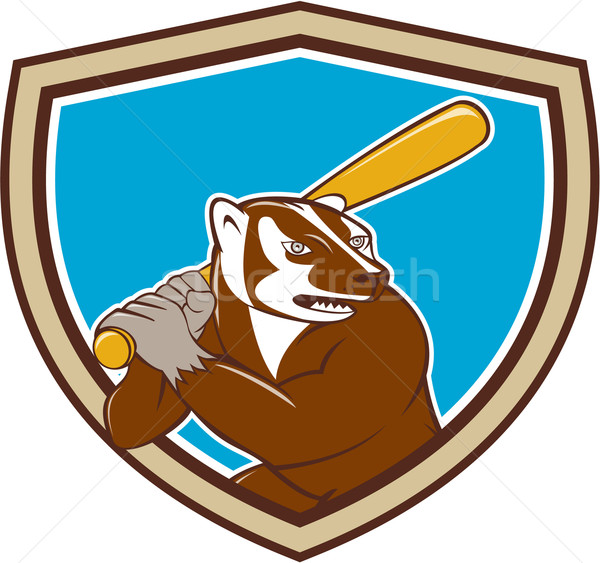 Badger Baseball Player Batting Shield Cartoon Stock photo © patrimonio