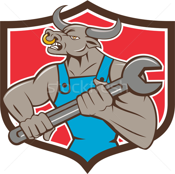 Mechanic Minotaur Bull Spanner Shield Cartoon Stock photo © patrimonio