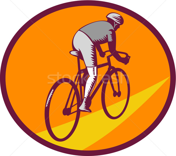 Cyclist Riding Bicycle Cycling Oval Woodcut Stock photo © patrimonio