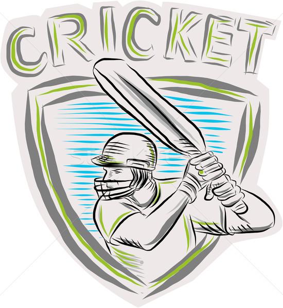 Críquete jogador escudo feito à mão estilo Foto stock © patrimonio