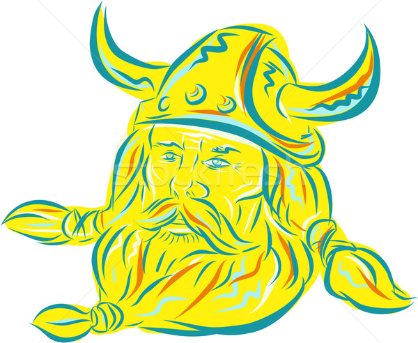Norseman Viking Beard Etching Stock photo © patrimonio