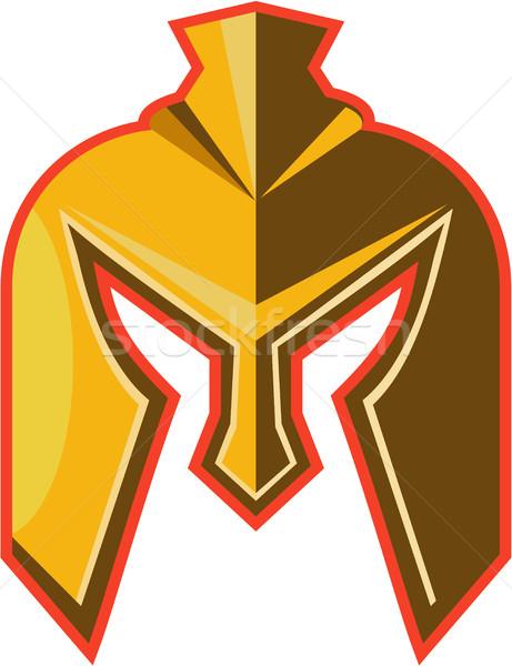 Spartaans helm retro illustratie ingesteld Stockfoto © patrimonio