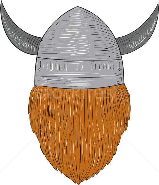 Viking Warrior Head Rear View Drawing Stock photo © patrimonio