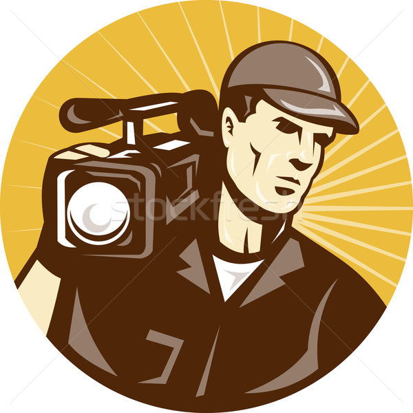 cameraman film crew with video movie camera Stock photo © patrimonio