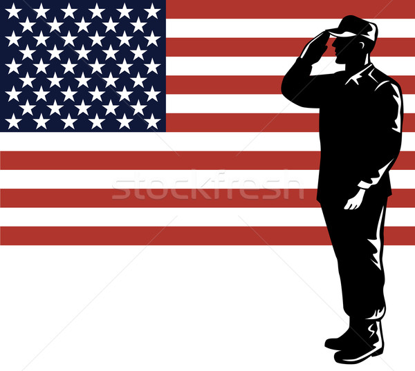 American Solder Serviceman Saluting Stock photo © patrimonio