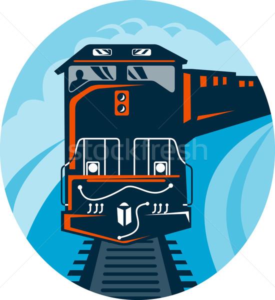 Diesel treno illustrazione dritto up Foto d'archivio © patrimonio