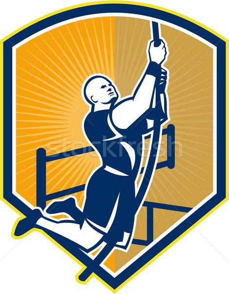 Cross-fit Athlete Rope Climb Retro Stock photo © patrimonio