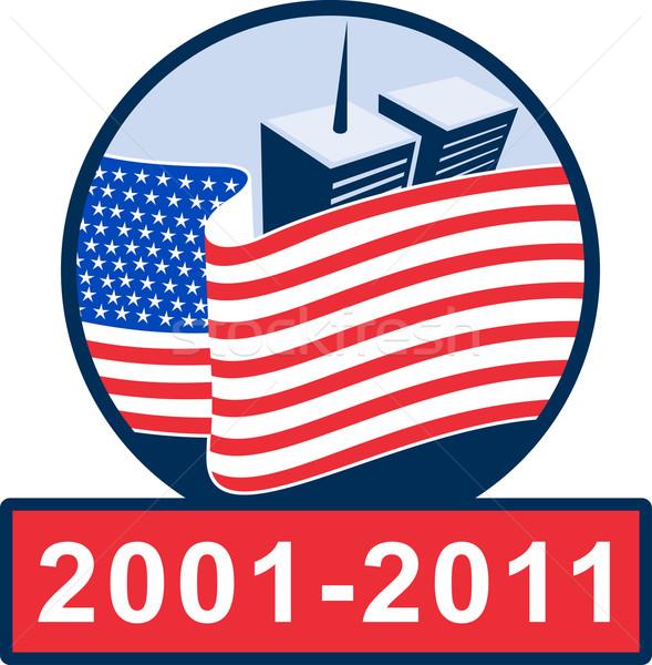 Amerikai zászló iker torony épület illusztráció délelőtt Stock fotó © patrimonio