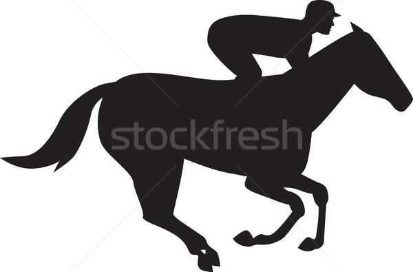 Corrida de cavalos lado silhueta ilustração cavalo jóquei Foto stock © patrimonio
