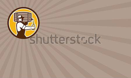 Bartender Carrying Beer Keg Retro Stock photo © patrimonio