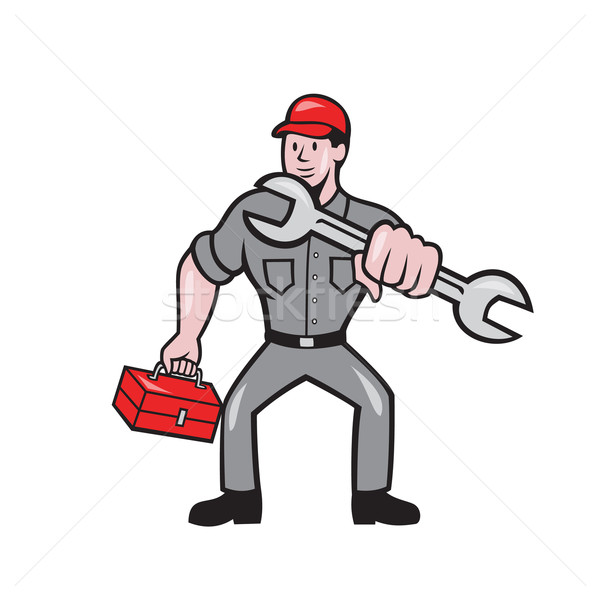 Mechanic Punching With Spanner Cartoon Stock photo © patrimonio