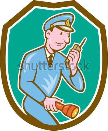 Jager geweer schild cartoon illustratie Stockfoto © patrimonio