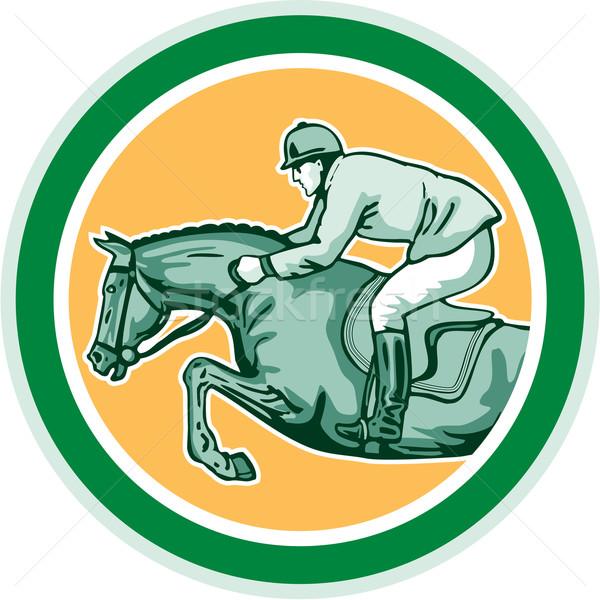 Equestrian Show Jumping Side Circle Retro Stock photo © patrimonio