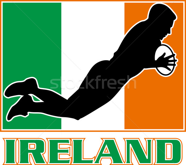 rugby playing diving try ireland flag Stock photo © patrimonio