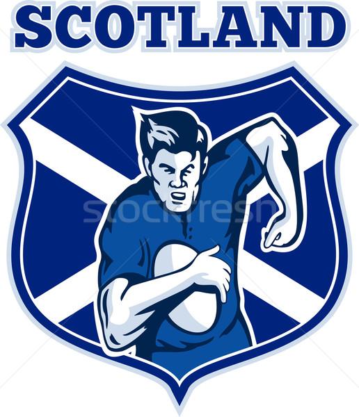 rugby player scotland flag shield Stock photo © patrimonio