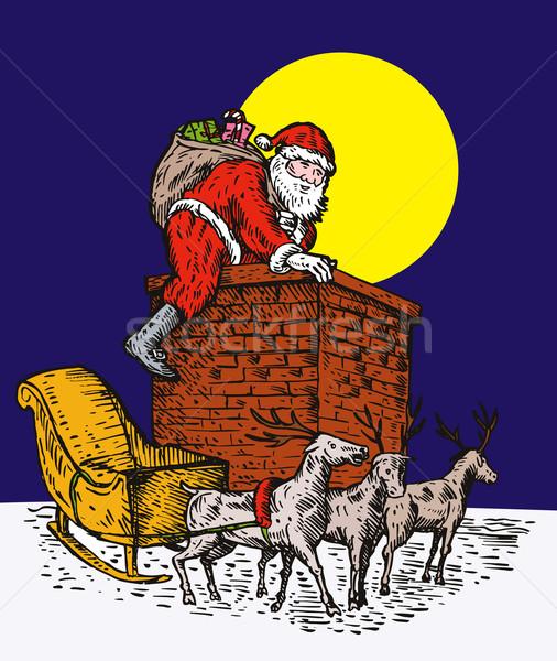 Santa Claus climbing chimney colour Stock photo © patrimonio