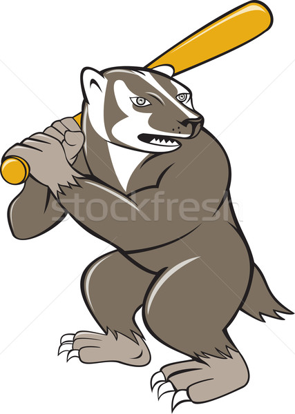 Badger Baseball Player Batting Isolated Cartoon Stock photo © patrimonio
