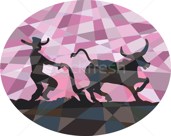 Southeast Asian Farmer Water Buffalo Plowing Low Polygon Stock photo © patrimonio