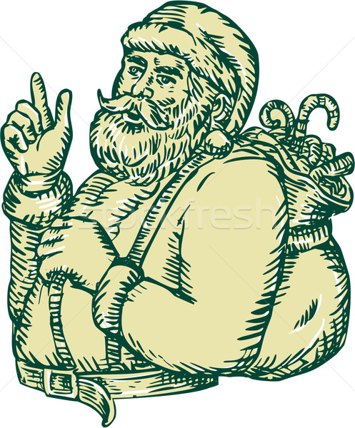 Santa Claus Pointing Side Etching Stock photo © patrimonio