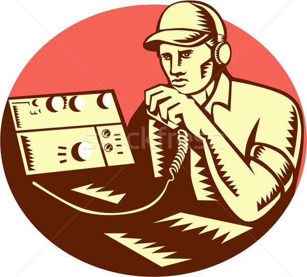 Ham Radio Operator Circle Woodcut Stock photo © patrimonio