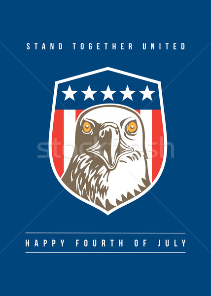 Independence Day Greeting Card-American Bald Eagle Head Stars Shield Stock photo © patrimonio