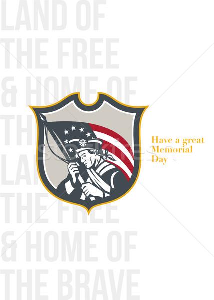 Nap üdvözlőlap hazafi tart amerikai zászló férfi Stock fotó © patrimonio