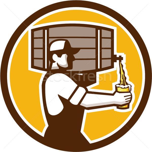 バーテンダー ビール サークル レトロな ストックフォト © patrimonio