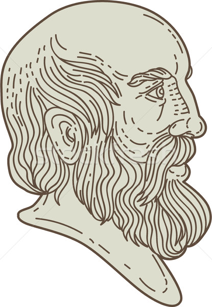 Plato Greek Philosopher Head Mono Line Stock photo © patrimonio