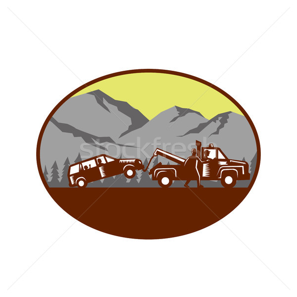 Car being towed Away Mountains Oval Woodcut Stock photo © patrimonio