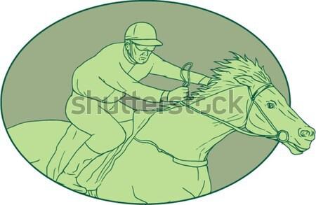 Zsoké lóverseny ovális rajz rajz stílus Stock fotó © patrimonio