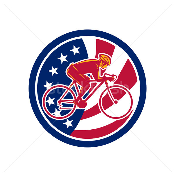 American Cyclist Cycling USA Flag Icon Stock photo © patrimonio
