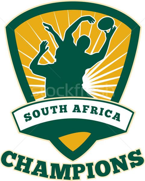 Rugby speler South Africa illustratie bal binnenkant Stockfoto © patrimonio