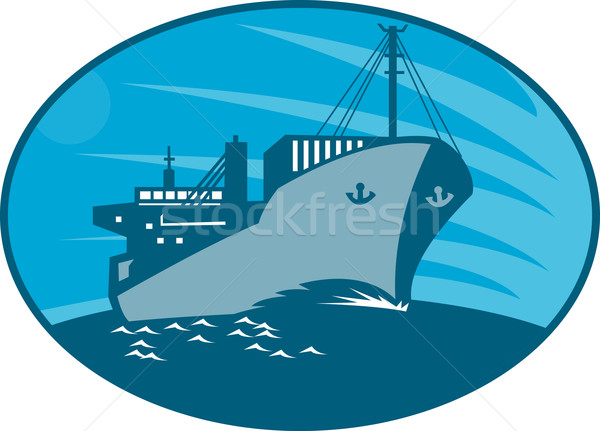 Container Cargo Freighter Ship Retro  Stock photo © patrimonio