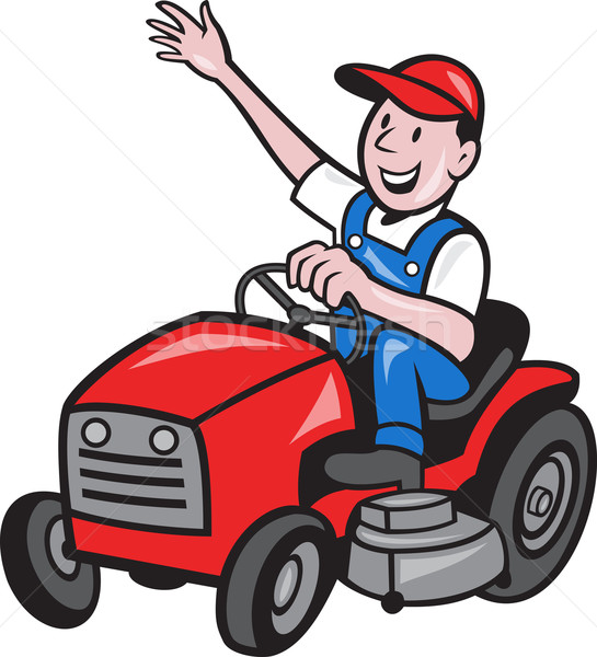 Farmer Driving Ride On Mower Tractor  Stock photo © patrimonio