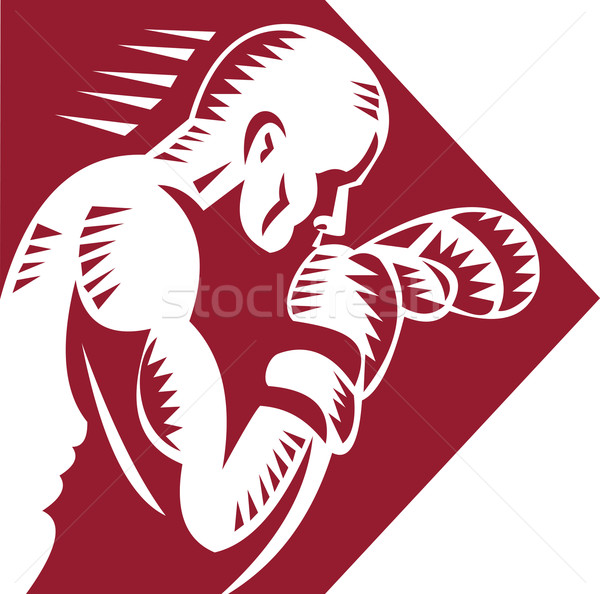 Boxing punching and jabbing side view Stock photo © patrimonio