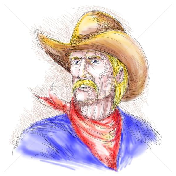 Stockfoto: Portret · amerikaanse · cowboy · hand · illustratie