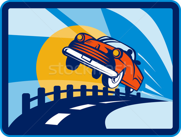 vintage convertible car flying off the road Stock photo © patrimonio